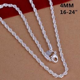 Super Shinning 925 biżuteria poszycia srebrny naszyjnik moda 2mm/3mm/4mm 16-24 cal kobiet/mężczyzna połysk skręcona lina łańcuch