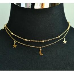 Nowy biżuteria 2 warstwa gwiazda księżyc choker naszyjnik miły prezent dla kobiety dziewczyna (zamówienie 3 sztuk mają 15% off)