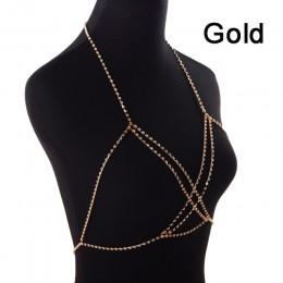 Modna seksowna elegancka uprząż damska srebrne złote łańcuszki zdobione cyrkoniami ozdobne paski na biustonosz