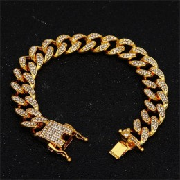 13mm Miami kubański Link Chain złoty srebrny naszyjnik bransoletka Iced Out kryształ Rhinestone Bling Hip hop dla mężczyzn biżut