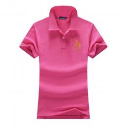 INS 2019 lato kobiet z krótkim rękawem 100% Pique bawełna duży koń haft logo slim polo koszulki z krótkim rękawem moda homme prz