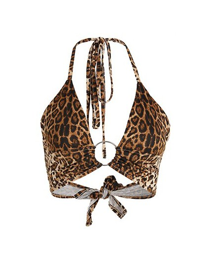 HEYounGIRL Leopard Print Tank Tops koszulki Sexy Halter Crop Top kobiety bez rękawów przycięte Top Backless Streetwear Crop Top