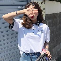 YAUAMDB koszulka polo damska koszulki z krótkim rękawem lato S-2XL kobiet topy list koszulki dla dzieci odzież w paski z krótkim