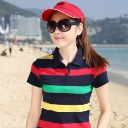 Plus rozmiar M-4XL 100% bawełna koszulka Polo kobiety lato Top Lady koszulka Polo w paski Raph koszula kobiet Polo Femme koszulk