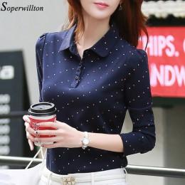 100% bawełna koszulka POLO damska koszula z długim rękawem urząd pracy nosić pani 2019 wiosna jesień Polka Dot Top kobiet szczup