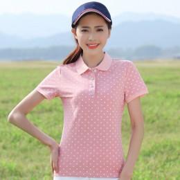 Ruoru M-4XL Plus rozmiar bawełna Dot koszulka POLO kobiet 2018 Femininas koszula lato koszulka polo z krótkim rękawem Femme wyso