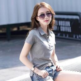 SEBOWEL lato koszulka POLO kobieta solidna klapa koszulki z dżerseju Slim Plus rozmiar 2019 kobiet krótki rękaw urząd Lady stylo