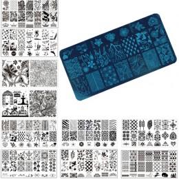 1 sztuk Nail Art Stamp stemplowanie obrazu płyty 6*12 cm ze stali nierdzewnej szablon do paznokci Manicure wzornik narzędzia, 20