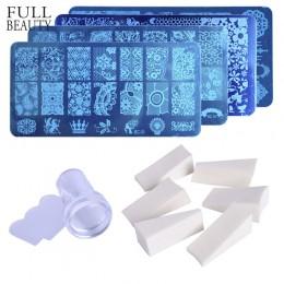 1 pc paznokci płytka do stemplowania + 8 pc Gradient gąbka + 1 pc żelowe, przezroczyste, silikonowe stempelki skrobak ze stali n