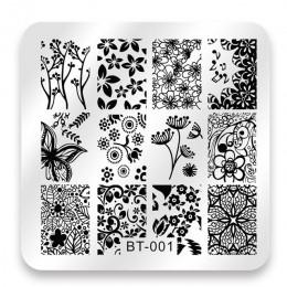 Biutee 6*6 cm plac tłoczniki do paznokci koronki kwiat wzór zwierząt Nail Art Stamp szablon tłoczenia obraz płyty szablony