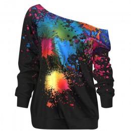 Wysokiej jakości projektowania mody wiosna jesień kobiety z długimi rękawami przekątnej kołnierz malowane koszulka jersey panie