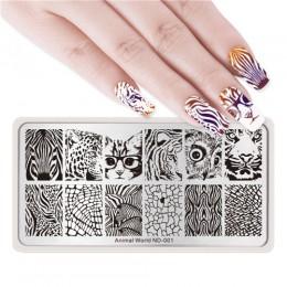 NICOLE pamiętnik do paznokci płytka do stemplowania prostokąt okrągły kwadrat świat zwierząt do paznokci z serii Art obraz płyty