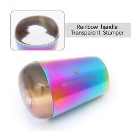 Urodzony dość kolorowe uchwyt stempel do paznokci błyszczące holograficzne głowy jasne Stamper silikonowy do zdobienia paznokci