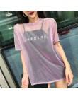 Foxmertor 2019 lato kobiety perspektywy światła przędza jedwabiu Sexy klub z krótkim rękawem O-neck T-shirt różowy zielony niebi