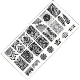 1 sztuka koronka projekt płytki do tłoczenia paznokci Nail Art Stamp obraz płyty zestaw do Manicure szablon narzędzie do paznokc