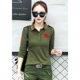 Wysokiej jakości jesień nowa koszulka POLO Plus Size kobiet z długim rękawem topy wojskowy styl bawełna szczupła koszulka POLO h