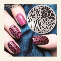 1 sztuka Leopard siatka szablon do zdobienia paznokci 3D moda wzór polski druk tłoczenia płyty piękno szablony do paznokci