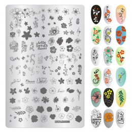 9.5*14.5 CM liście kwiaty wzór paznokci tłoczenia płyty obraz malarstwo Nail Art szablony szablon Manicure narzędzia do stemplow