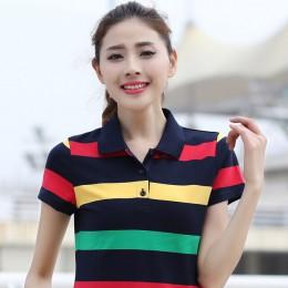 Ruoru M-6XL duży rozmiar bawełna w paski damskie koszulka Polo na co dzień odchudzanie skrótu damska z długimi rękawami koszulka