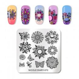 NICOLE pamiętnik do paznokci ze stali nierdzewnej tłoczenia płyty kwiaty Nail Art DIY projekt paznokci obraz płyty wzornik akces