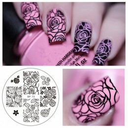Urodzony dość kwiat róży szablon do zdobienia paznokci kwiat Mandala motyl obraz płyta paznokci płytka do stemplowania narzędzia