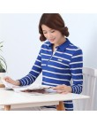 Jesień zima nowe paski kobiet topy koszulka POLO długie rękawy elastyczna szczupła mody polo koszule Plus rozmiar Femme bawełna