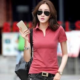 Lato koszulka POLO kobiet 2017 nowy krótki rękaw solidna Slim polo Mujer koszulki z krótkim rękawem topy moda damska koszulka PO