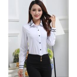 2019 wiosna lato mujer koszulka Polo kobiety kobieta z długim rękawem Lapel biały feminina Casual koszule Lady Polo femme odzież
