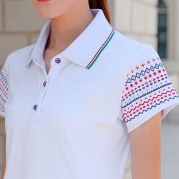 Najwyższej jakości bawełny Slim polo koszule damskie na co dzień Plus rozmiar z krótkim rękawem w stylu Retro w stylu vintage po