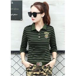 Wysokiej jakości na co dzień koszulka POLO Plus Size kobiet z długim rękawem topy wojskowy styl bawełna zieleń wojskowa paski Sl