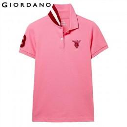Giordano koszulka polo damska koszula kobiety haft Deer elastyczna koszulka polo z krótkim rękawem kobiety bawełna elastan na co