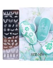 1 sztuk 12x4 cm paznokci tłoczenia płyty liść kwiaty motyl kot do zdobienia paznokci szablony szablony projekt polski manicure T