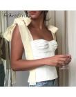 TWOTWINSTYLE białe krótkie koszulki kobiet bez rękawów bandaż krótki pasek kamizelka dla kobiet w stylu Vintage moda koreański 2