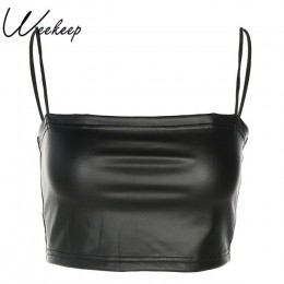 Weekeep Sexy przycięte Top skórzany zbiornik kobiet lato czarny Bralette Crop Top Backless Camisole topy Spaghetti pasek kamizel