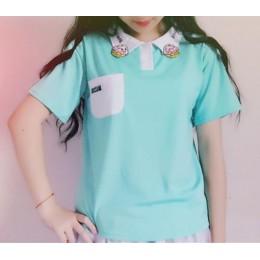 2017 lato nowa moda cukierki kolor ciasto haftowane dorywczo luźne kobiet koszulka POLO