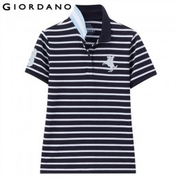 Giordano koszulka polo damska Napoleon wzór haftu koszulka POLO płaski kołnierz z krótkim rękawem topy Lady 2018 lato kolekcja