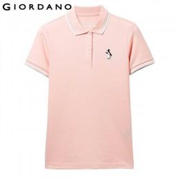 Giordano koszulka Polo damska koszule damskie haftowane pingwin z krótkim rękawem lato elastyczna koszulka Polo kobiety kontrast