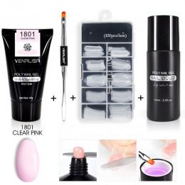Zestaw do samodzielnego manicure pedicure tubka z żelem lub akrylem w naturalnych odcieniach beżu różu tipsy do lampy UV