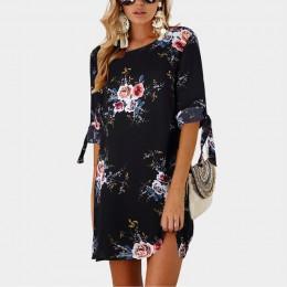 2019 kobiety lato sukienka w stylu Boho kwiatowy Print szyfonowa plaża sukienka tunika Sundress luźna Mini sukienka na imprezę V