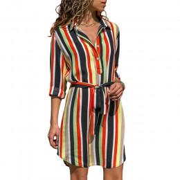 Długa damska koszula z długim rękawem w pionowe pasy we wzory zwiewna modna oryginalna