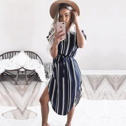 Letnia sukienka 2019 kobiety w stylu Boho geometryczny drukuj Beach sukienka eleganckie sukienki z paskiem Vestidos de fiesta Pl