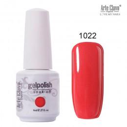 Arte Clavo 8 ml do paznokci lakier żelowy do paznokci Soak off LED hybrydowy UV żel lakier do paznokci podkład żel lakier czerwo
