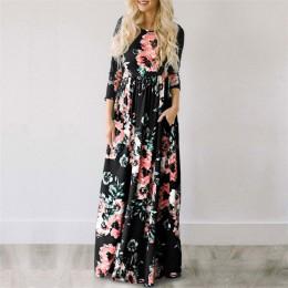 2019 lato długa sukienka kwiatowy Print Boho plaża sukienka tunika sukienka w dużym rozmiarze kobiety wieczór sukienka na imprez
