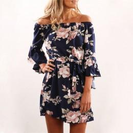 Kobiety sukienka 2019 lato Sexy Off ramię szyfonowa sukienka z kwiatowym wzorem Boho Style krótki Party suknie Vestidos de fiest