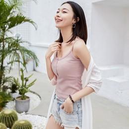 Bez rękawów Sexy slim lato Camisole kobiety kamizelka solidna bawełna Halter Crop Top czarny biały różowy podstawowe gorset Top