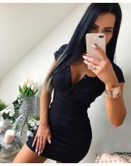 Letnia sukienka damska seksowna z dzianiny mini czarna szara rozpinany dekolt