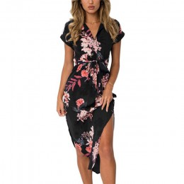 Modna letnia sukienka damska w kwiaty z rękawkiem głęboki dekolt wiązana w talii do kolan zmysłowe rozcięcie na udach