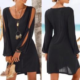 Mini sukienka damska o prostym kroju z długim rękawem czarna na plażę na lato na wakacje zwiewna