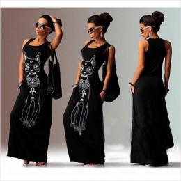 2019 kobiet długa letnia sukienka maxi na co dzień kota drukuj Boho plaża sukienka Sexy wieczór Party Bodycon sukienka Vestidos