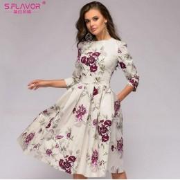 S. FLAVOR kobiety elegancka linia a sukienka 2019 w stylu Vintage drukowania party vestidos trzy czwarte rękaw kobiet szczupła l